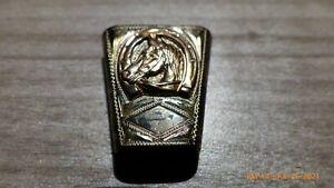 Vintage STERLING SILVER & 10 K 10K Gold BOLO SLIDE Sunset Trails Cowboy Horse