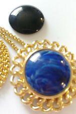 VINTAGE KENNETH JAY LANE KJL Blue Black Gold Pendant Brooch Joan Rivers Necklace