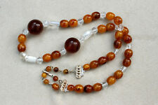 "Vintage Marbled AMBER & CLEAR Acrylic BEAD NECKLACE Length 21-23"" 54-58cm"