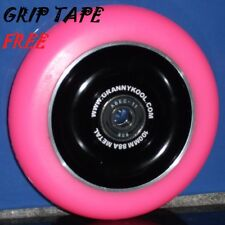 SCOOTER WHEELS-CLEARANCE Solid Core  Black/PINK -100mm FREE GRIP TAPE & POST