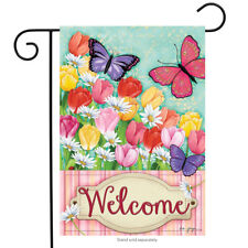"Butterflies and Tulips Spring Garden Flag Welcome Floral Butterfly 12.5"" x 18"""