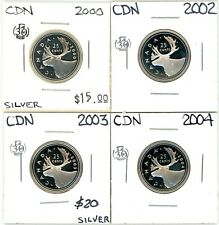 2000 2002 2003 2004 Canada Proof 25 Cents Lot of 4 Uncirculated Silver #12950