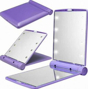 Folding LED Pocket Mirror Cosmetic Compact with 8 Lights Lamps Makeup Portable