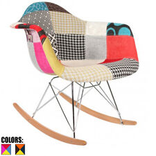 Patchwork S Mid Century Modern Vintage Molded Shell Plastic Rocking Chair Fabric
