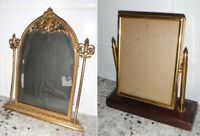 Lot VTG Antique 1930s Sm Picture Frames w/Bubble Glass, Swivel Gold Gilt Trefoil