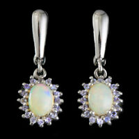 100% NATURAL 8X6MM OPAL ETHIOPIAN WELO & TANZANITE STERLING SILVER 925 EARRING