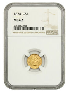 1874 G$1 NGC MS62 - 1 Gold Coin