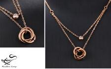 Collana Donna-Oro Rosa-Pendente Cerchi-Girocollo Acciaio Inossidabile-Zircone