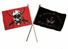 "12x18 12""x18"" Wholesale Combo Pirate Crimson & Beatings Morale Stick Flag"