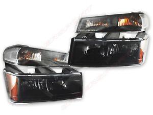 Set of Black Smoke Headlights + Park Signal Lamps for 2004-2012 Colorado Canyon