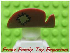 New LEGO Minifig HAT Reddish Brown Wide Brim Tan Patch Scarecrow Head Gear