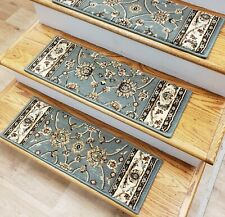 "Light Blue Stair Tread Set of 14 Non Slip Carpet Treads 26"" x 9"" Rug Depot"