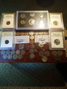 Old US Coin Lot Indian & Wheat Cents Flying Eagle Proof Set WW2 Coins & More