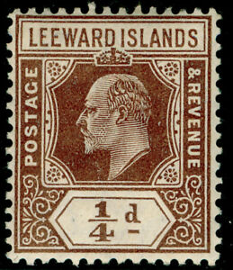 LEEWARD ISLANDS SG36, 1/4d brown, LH MINT.
