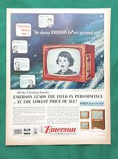1952 Vintage Magazine Televison Ad  ~ Emerson Table & Console Models