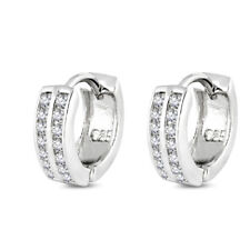 Double Row Clear CZ Huggie Genuine Sterling Silver Designer Earrings