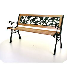 Outdoor Wooden 3 Seater Garden Bench Park Seat With Cast Iron Legs 2