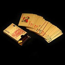 NUOVO plastica oro placcato POKER CARTE DA GIOCO 54 PZ E 500 EURO RETRO DESIGN