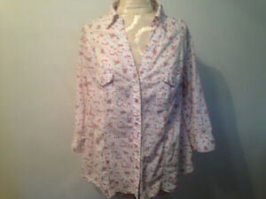 White Orange Gray Floral ARIZONA 100% Cotton 3/4 Sleeve Blouse Shirt Size 1X