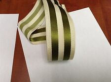 "10 Yards 2"" VINTAGE ANTIQUE Green and White Stripe Grosgrain Ribbon FRENCH"