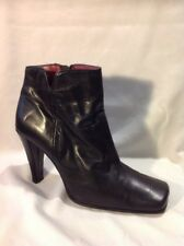 Saxone Black Ankle Leather Boots Size 6