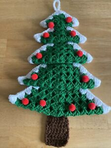 "Vintage Crochet yarn Christmas Tree pleated wall decor hanging 15"" w loop"