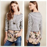 Postmark Anthropologie Layered Stripes Floral Mixed Media Sweater Top Blouse L