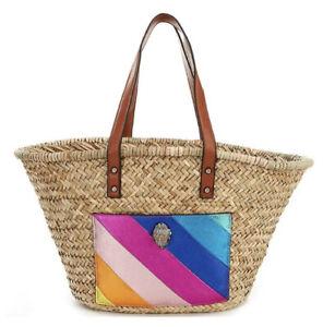 Kurt Geiger London Kensington Rainbow Straw Basket Shopper Tote Bag $145 NWT