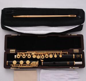 New Pro Ebony Wooden Gold Plated C# Trill Flute B Foot Split E Offset Wood Csae