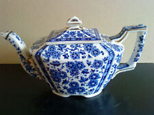 Mid Victorian blue & white floral teapot, interesting silver repairs reg diamond