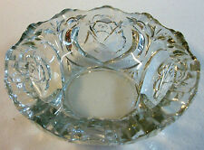 """PASARI Crystal Clear GLASS BOWL Candy Trinket Dish Sculpted ROSE 1"""" Thick Rim 8"""""""