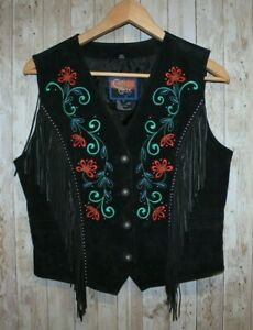 Cripple Creek women M Black Embroidered Snap Fringe Vest Jacket Suede Western