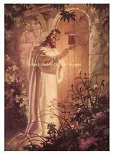 Jesus Christ Knocking at Hearts Door Fabric Block 5x7