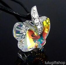 MADE WITH 20MM SWAROVSKI CRYSTAL AB BUTTERFLY WHITE GOLD PLATED PENDANT NECKLACE