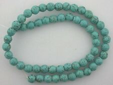 8mm Round Blue With Matrix Magnesite Turquoise Bead 16 Inch Strand