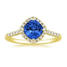 1.43Ct  Natural Blue Sapphire  Engagement Ring 14K Solid Yellow Gold Hallmarked