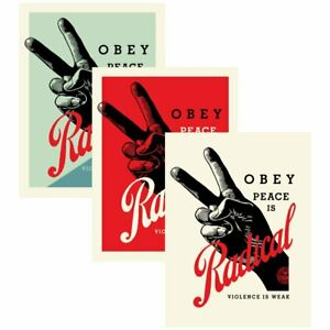 OBEY RADICAL PEACE SIGNED & NUMBERED SCREEN PRINT SET In Hand