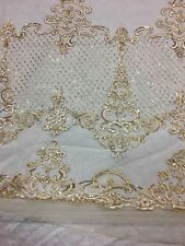 Bridal Wedding Gold  Sequin Beaded Embroidered Net Lace Fabric BTY