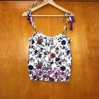NWT Raga floral tie shoulder tank top cutout boho cami purple blue white S