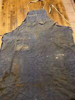 DENIM APRON - Vtg Selvedge Faded Worn Distressed Blue Jean Workwear Shop