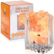 100% Natural Himalayan Salt Lamp Glass Crystal Basket with Himalayan Salt Chunks