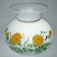 Vintage Lamp Shade Milk Glass Hand Painted Yellow Green Sunflowers Light Antique