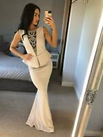 Beige Plunge Diamante Peplum Dress Ball Gown Fishtail Maxi Evening Prom UK ❤