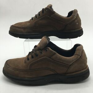 Rockport Mens 10.5 Casual Oxford Comfort Shoes Brown Leather Low Top Lace Up