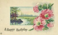 Antique Happy Birthday Floral Flower Art Postcard