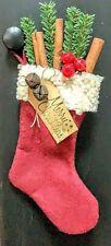 Primitive/Colonial Handmade Christmas Stocking Ornie Cinn Stick/Greens Free Ship