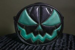 Love Pain and Stitches Hand Crafted Mean Pumpkin Teal and Black Glitter Bag