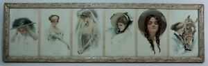 Antique Harrison Fisher Framed Prints ca. 1910 in Art Nouveau or Victorian Style