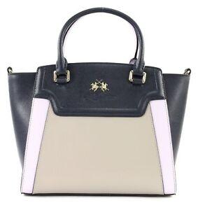 LA MARTINA La Portena Handbag Handtasche Schultertasche Blau Beige Neu