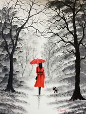 MAL.BURTON ORIGINAL OIL PAINTING.   RED UMBRELLA  BLACK WHITE WOMAN DOG ART